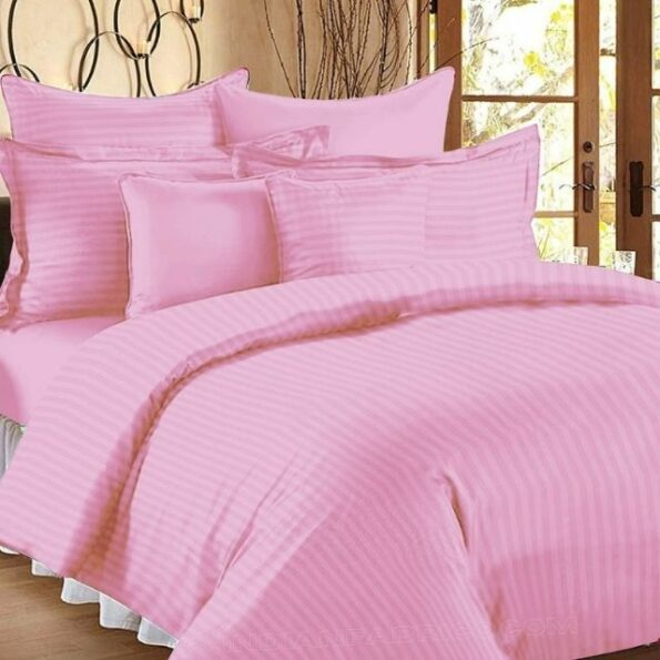 Baby Pink Satin Pure Cotton King Size Bedsheet with 2 Pillow Covers