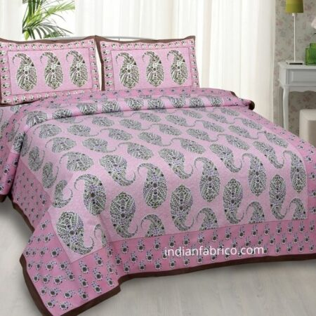 Beautiful Pink Base Seashell Print Double Bedsheet with 2 Pillow Covers
