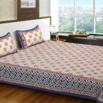 100% Cotton Double Bedsheet with 2 Pillow Covers Set, 240tc Floral Print Multicolour Bedsheets for Double Bed ( Size 86X106 )