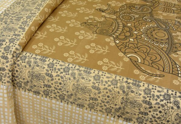 Alexa Elephant Pattern Brown Color King Size Double Bedsheet Lookout