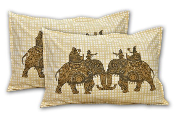 Alexa Elephant Pattern Brown Color King Size Double Bedsheet Pillow Cover Set