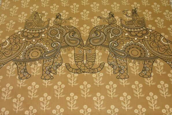 Alexa Elephant Pattern Brown Color King Size Double Bedsheet close up