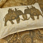 Alexa Elephant Pattern Brown Color King Size Double Bedsheet closeup