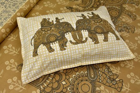 Alexa Elephant Pattern Brown Color King Size Double Bedsheet closeup