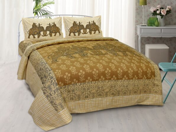 Alexa Elephant Pattern Brown Color King Size Double Bedsheet with 2 Pillow Cover Set