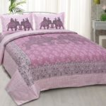 Alexa Elephant Pattern King Size Double Bedsheet with 2 Pillow Cover Set
