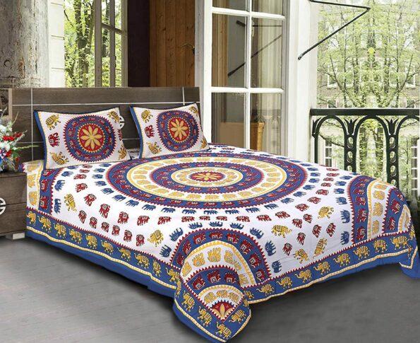 Animal Print Blue color Jaipuri Bedsheets