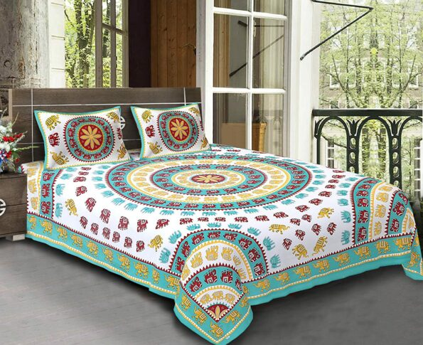 Animal Print Green color Jaipuri Bedsheets.jpg