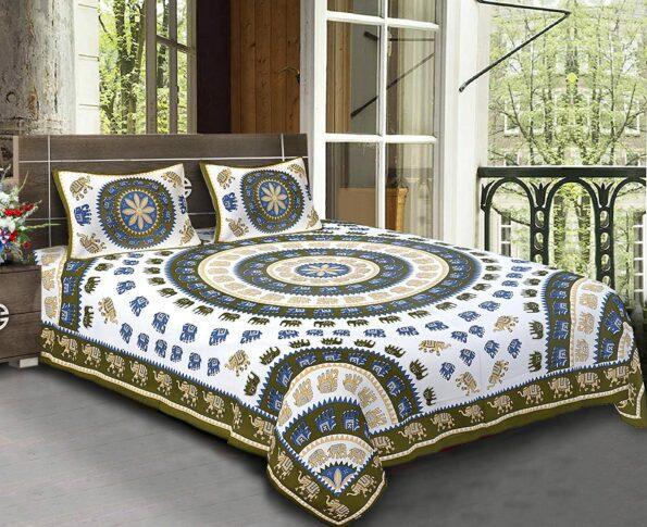 Animal Print Multicolour Jaipuri Bedsheets