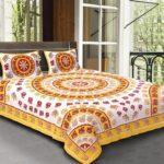 Animal Print Yellow color Jaipuri Bedsheets