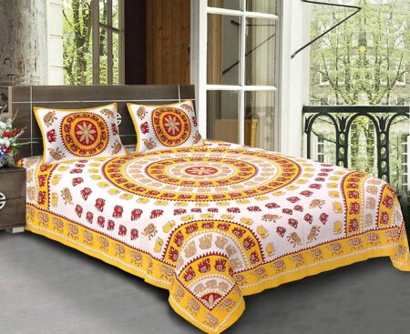 Animal Print Yellow color Jaipuri Bedsheets
