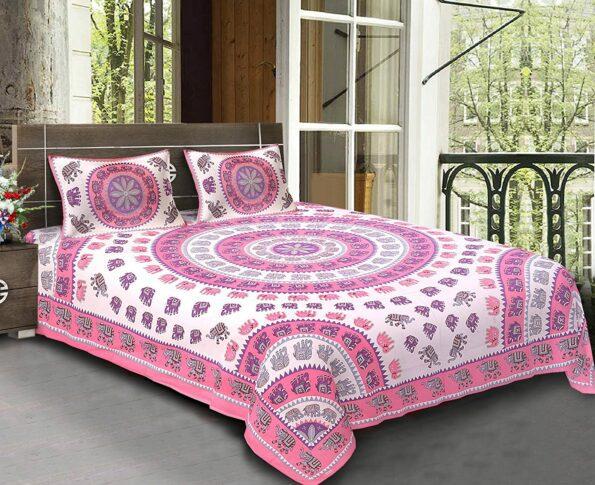 Animal Print pink color Jaipuri Bedsheets