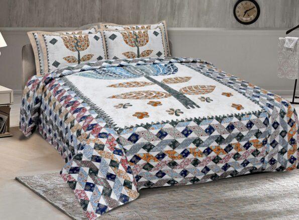 Barmeri Big Lotus in Cream Blue Multicolour Double Bed Sheet