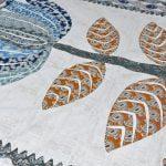 Barmeri Big Lotus in Cream Blue Multicolour Double Bed Sheet Close Up