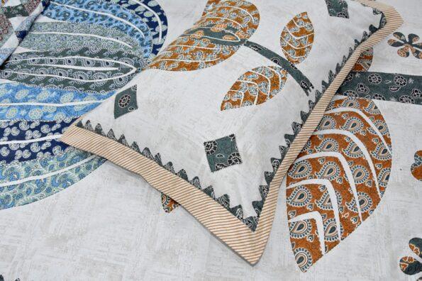 Barmeri Big Lotus in Cream Blue Multicolour Double Bed Sheet Closeup