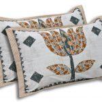 Barmeri Big Lotus in Cream Blue Multicolour Double Bed Sheet Pillow Cover