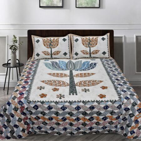 Barmeri Big Lotus in Cream Blue Multicolour Double Bed Sheets