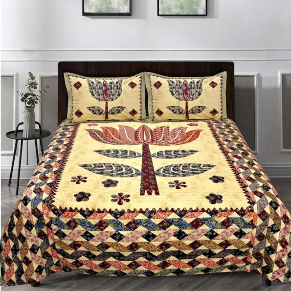 Barmeri Big Lotus in Cream Brown Double Bed Sheet