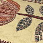Barmeri Big Lotus in Cream Brown Multicolour Double Bed Sheet Close up