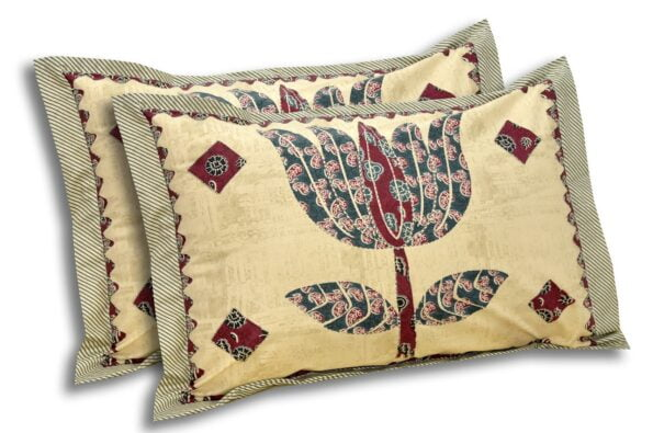 Barmeri Big Lotus in Cream Brown Multicolour Double Bed Sheet Pillow Cover