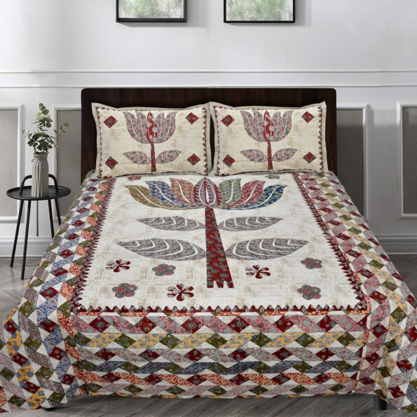 Barmeri Big Lotus in Cream Red Double Bed Sheet