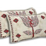 Barmeri Big Lotus in Cream Red Double Bed Sheet Pillow Covers