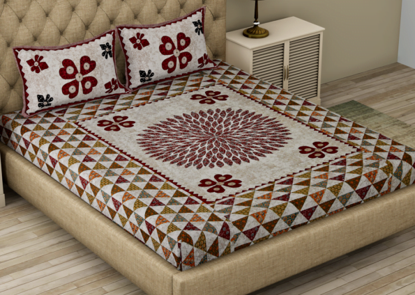 Barmeri Print Beautiful Design Double Bed Sheet