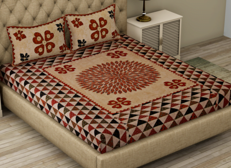Barmeri Print Beautiful Design in Cream Red Double Bed Sheet