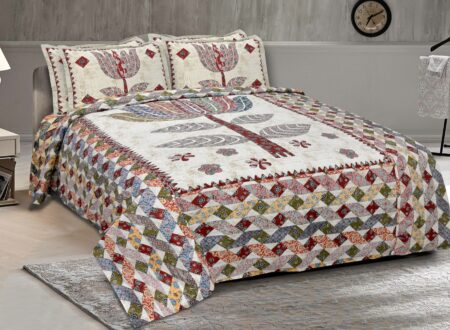 Barmeri Print Big Lotus in Cream Red Double Bed Sheet