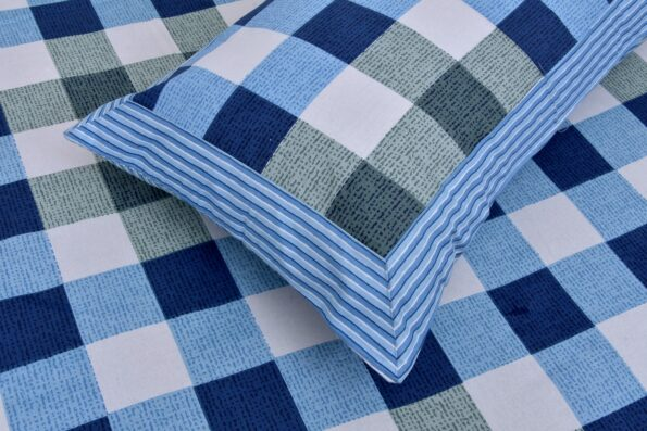 Beautiful Blue Print Check Pattern Cotton Double Bed Sheet close up