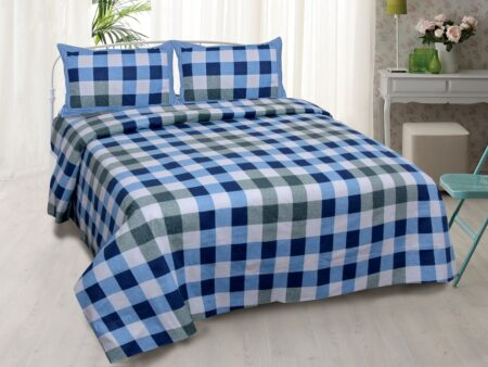 Beautiful Blue Print Check Pattern Cotton Double Bed Sheet with two pillow cover