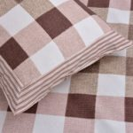 Beautiful Brown Print Check Pattern Cotton Double Bed Sheet close up