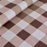 Beautiful Brown Print Check Pattern Cotton Double Bed Sheet closeup