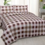 Beautiful Brown Print Check Pattern Cotton Double Bed Sheet with two pillow cover