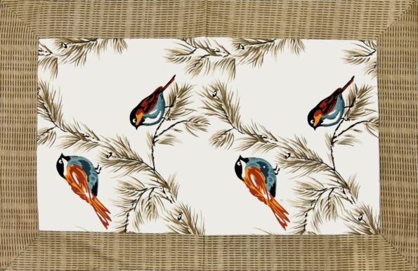 Beautiful Indian Brown Bird Pattern Cotton Double Bed Sheet closeup