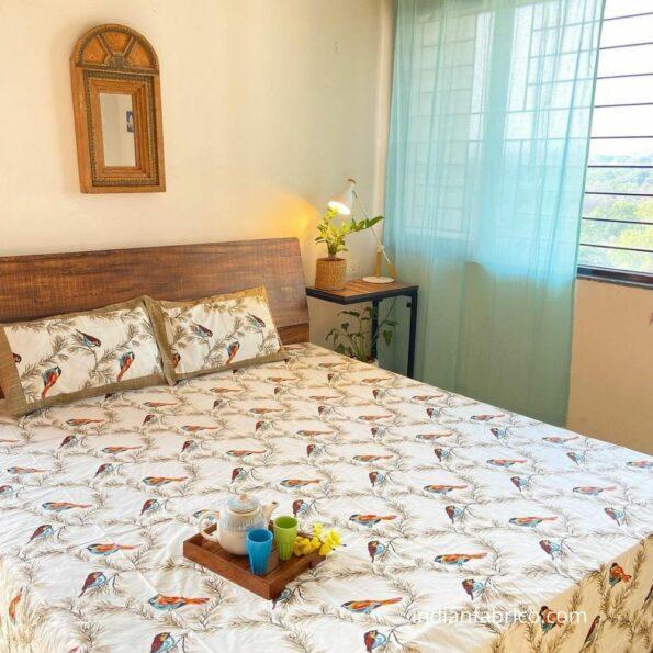 Beautiful Indian Brown Bird Pattern King Size Bed Sheet Closeup
