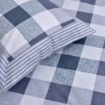 Beautiful Metal Grey Print Check Pattern Cotton Double Bed Sheet close up