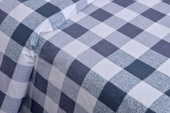 Beautiful Metal Grey Print Check Pattern Cotton Double Bed Sheet closeup