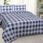 Beautiful Metal Grey Print Check Pattern Cotton Double Bed Sheet with pillow cover