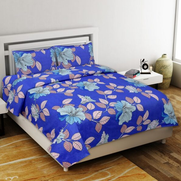 Beauty Floral Poly Cotton Double Bedsheet with 2 Pillow Cover Set