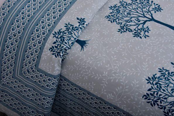 Blue Print Multi Tree Print Super Fine Cotton King Size Double Bed Sheet Close up