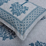 Blue Print Multi Tree Print Super Fine Cotton King Size Double Bed Sheet Look out