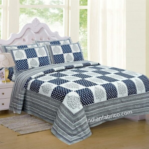 Dark Blue Checks with off White Base Cotton Satin Hand Block King Size Double Bed Sheet