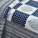 Dark Blue Checks with off White Base Cotton Satin Hand Block King Size Double Bed Sheet Design