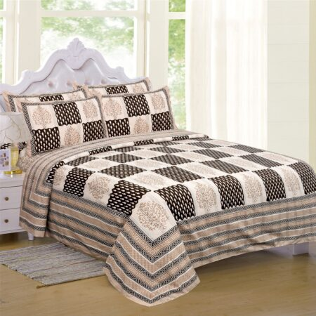 Dark Brown Checks with off White Base Cotton Satin Hand Block King Size Double Bed Sheet