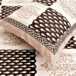 Dark Brown Checks with off White Base Cotton Satin Hand Block King Size Double Bed Sheet Close up