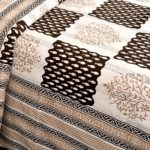 Dark Brown Checks with off White Base Cotton Satin Hand Block King Size Double Bed Sheet Design