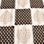Dark Brown Checks with off White Base Cotton Satin Hand Block King Size Double Bed Sheet lookout