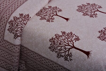 Dark Red Multi Tree Print Super Fine Cotton Double Bed Sheet Close up