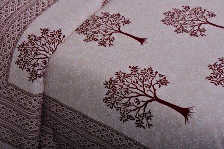 Dark Red Multi Tree Print Super Fine Cotton Double Bed Sheet Close up